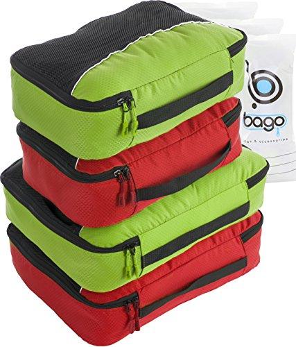 4Pz Bago Cubi Di Imballaggio - Set per Viaggi (2Green+2Red)+ 6Pz Sacchetti Organizzatori per i bagagli