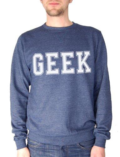 Balcony Shirts 'GEEK' Mens Sweatshirt - Navy - Small