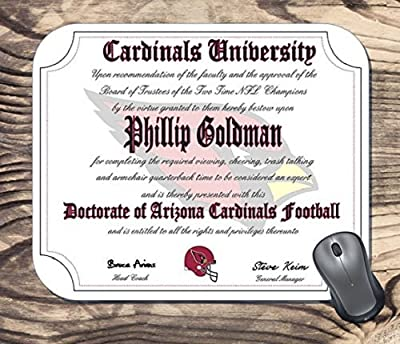 Arizona Cardinals Ultimate Football Fan Personalized Diploma Mouse Pad - Perfect Gift
