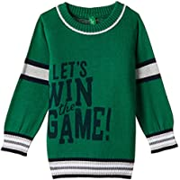United Colors of Benetton Boys' Sweater (15A10F4C109PG256_Verdant Green and Melange_XL)