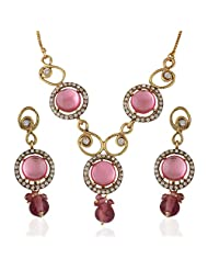Variation Light Pink Statement Necklace Set For Women
