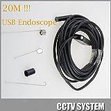 Newest 9mm Dia USB Endoscope 2mp USB Insepction Camera Endoscope 20M Long Flexible Cable 6led 1600x1200 Borescope 20M Long Flexible Cable IC20H