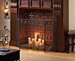 GHP French Revival Fleur De Lis Embellished Iron Fireplace Screen from Globe Warehouse