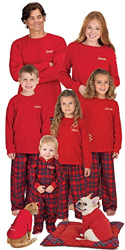 PajamaGram Red Flannel Stewart Plaid Matching Family Christmas Pajama Set, Men's Medium, Multicoloured