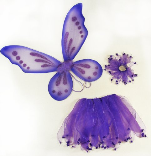 3 Piece Girls Pixie Fairy Costume Wing, Tutu, Hair-Tie (Pony-O) Set. Select Color: Purple