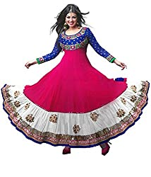 Shreenathji Enterprise Pink and White Georgette Anarkali Dress Materials (H157_pink and white_Free size)