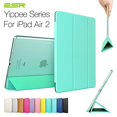 iPad Air 2 Case,ESR Yippee Color Series Smart Cover+Transparent Back Cover [Ultra Slim] [Light Weight] [Scratch-Resistant Lining] [Perfect Fit] [Auto Wake Up/Sleep Function] for[2014 Release] iPad Air 2 Cover (Mint Green)