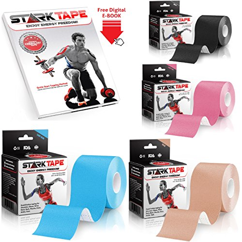 StarkTape Kinesiology Tape for Athletes. Best Knee Taping, Therapeutic Tape for Shoulder Wrist Muscle Sport Injuries. Sticky Waterproof Latex Free Adhesive. Uncut 2 In x16.4 Foot Roll Blue (Duck Adhesive Remover compare prices)