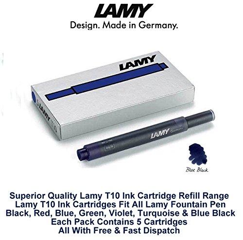 Lamy T10 Bleu Noir Cartouches d'encre pour stylo-plume de rechange pour toutes les recharges Lamy Stylo Fountian 5-25 Lot de cartouches d'encre)