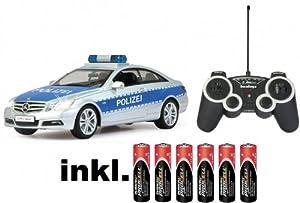 RC Mercedes Benz E-Klasse Polizei Auto ferngesteuert - inkl. Batterien mit Polizei-Sirene,Blaulicht und Sound 1:16