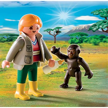 Playmobil Zoo Keeper with Gorilla Baby