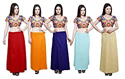 Pistaa combo of Women's Cotton Maroon, Orange, Royal Blue, Sky Blue and Beige Color Best Indian Plain Casual Readymade Inskirt Saree petticoats