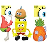 SpongeBob SquarePants®, Patrick®, Pineapple House® & Krabby Patty® Squeaky Chew Toy 4-Pack for Dogs, Safety-Sealed