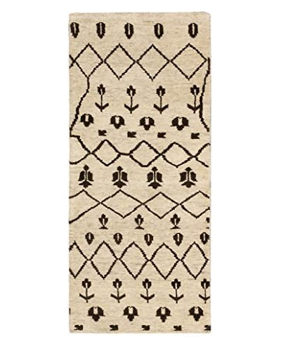 Hand-Knotted Royal Maroc Wool Rug, Cream/Dark Brown, 2' 6 x 5' 9 Runner