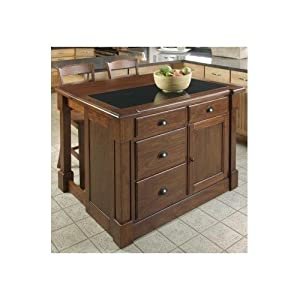 Large Kitchen Island Cart Granite Counter Top 2 Wood Table Height ...