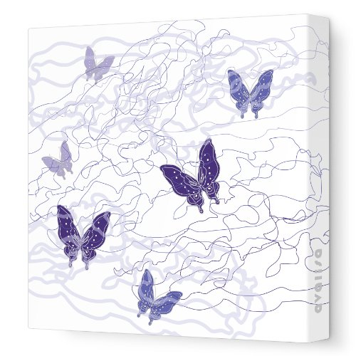 "Avalisa Stretched Canvas Nursery Wall Art, Butterfly Trails, Purple, 18"" x 18"""