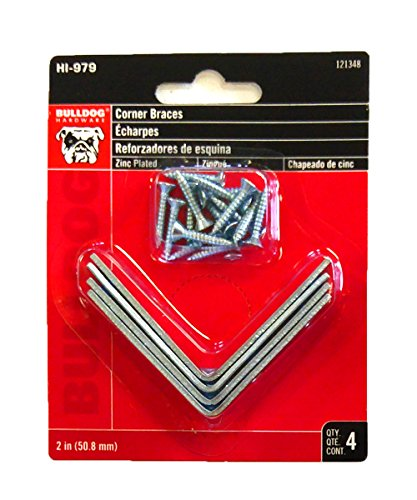 ''Bulldog Set of 4 2'''' Corner Braces L Brackets for Shelving Zinc Plated W/SCREWS (4)''