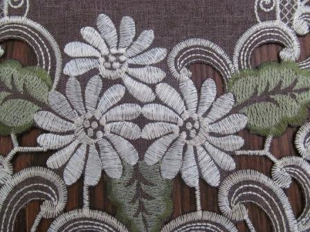 "44"" Table Runner Or Dresser Scarf With A White Daisy On Brown Burlap Linen Style Fabric"