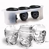 Rurah 3D Silicone Skull Combo Shape Sphere Ice Ball Maker Mold Perfect For Kids Halloween Gifts (Color: As picture, Tamaño: As description)