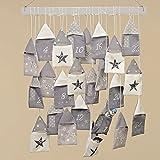 Adventskalender 1-24 grau Sterne Säckchen 50x59 Weihnachten Advent mit Holzstab