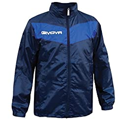 Givova Scudo Watertight Front Zip Hooded Mens, Womens, Boys and Girls Rain Jacket, Blue/Navy, Large