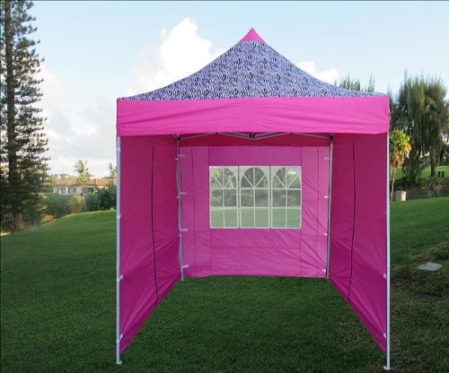 8 X8 Pop up 4 Wall Canopy Party Tent Gazebo Ez Pink Zebra