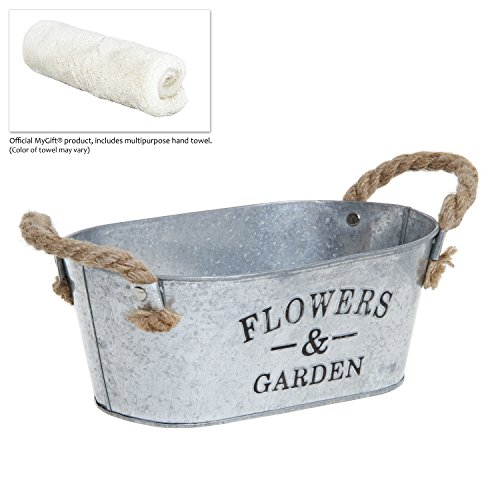 Rustic 'Flowers & Garden' Bucket Design Small Metal Succulent Plant Container w/ Twine Handles - MyGift® 3