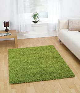 """Large Quality Shaggy Rug in Lime 120 x 160 cm (4' x 5'3"""") Carpet by Lord of Rugs"""