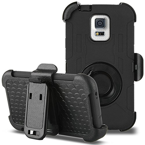 Galaxy S5 Case, ULAK Hybrid Rugged triple Layer Protection Holster Case for Samsung Galaxy S5 with Built-in Rotating Stand and Belt Swivel Clip - Black (Belt Case Samsung S5 compare prices)