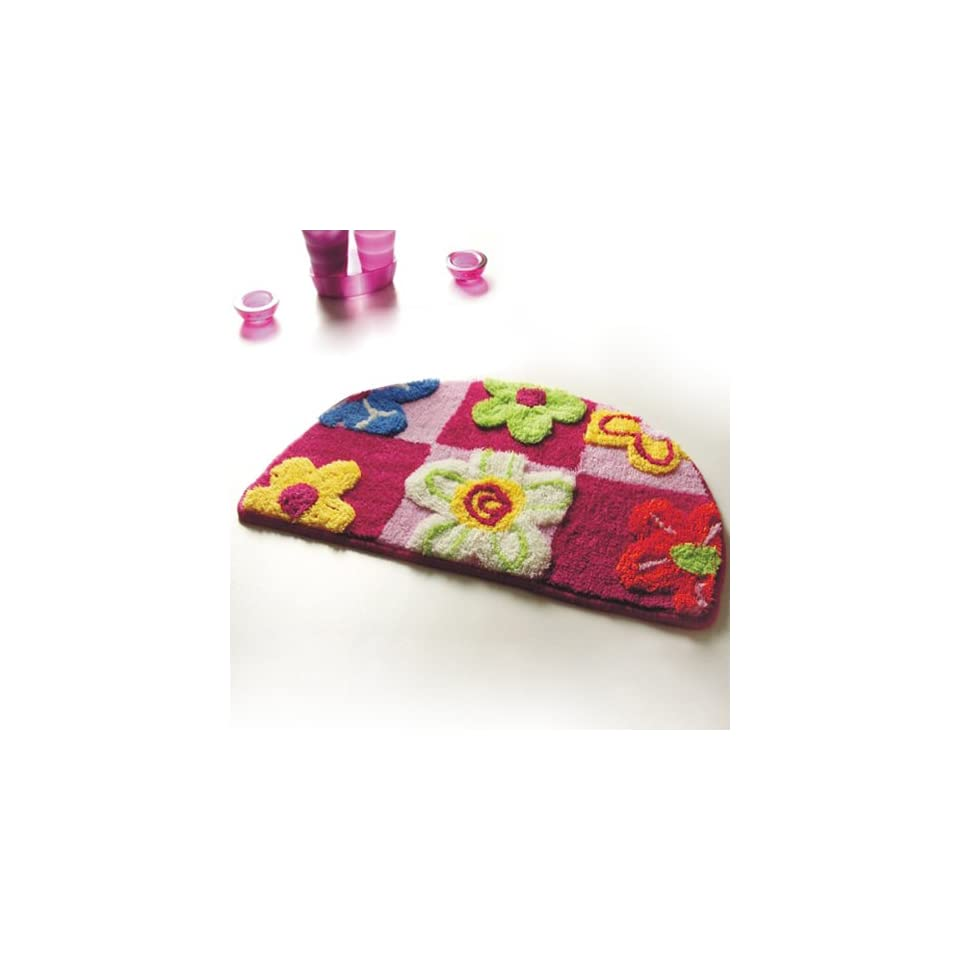 Naomi   [Red / Pink Flowers] Kids Room Rugs (15.7 by 24.8 inches)