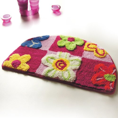 Naomi - [Red / Pink Flowers] Kids Room Rugs (15.7 by 24.8 inches)