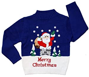 Children's Rooftop Santa Christmas Sweater in Blue By Skedouche
