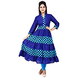 AnjuShree Choice Women's Cotton Blue Stitched Anarkali Kurta Kurti (Medium)