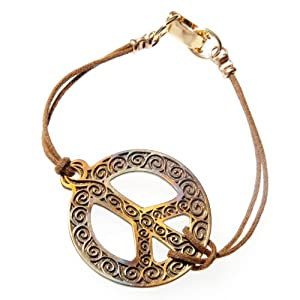 Filigree Iridescent Peace Sign Bracelet