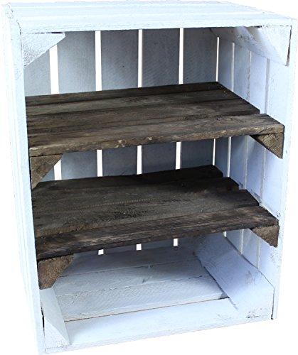1-x-alte-Obstkiste-gebraucht-WEISS-mit-2-Zwischenbden-HOCHKANT-Holzkiste-mit-2-Regalbden-von-Cronenwerth-