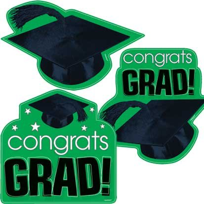 Congrats Grad Green Cutouts 3ct - 1