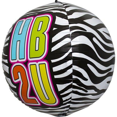 HB2U Zebra Sphere Helium Foil Balloon - 17 inch
