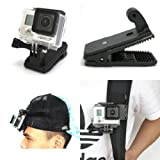 360 Rotary Backpack Hat Rec-Mounts Clip Fast Clamp Mount for GoPro Hero 2 3 3+