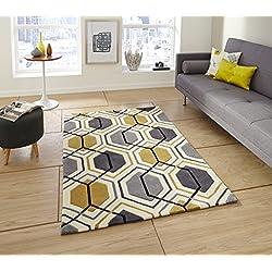 Hexagon Hong Kong Teppich, handgetuftet, 100% Acryl, geometrische Design Mauspad (verschiedene Größen & Farben), Grey & Yellow, 150cm x 230cm