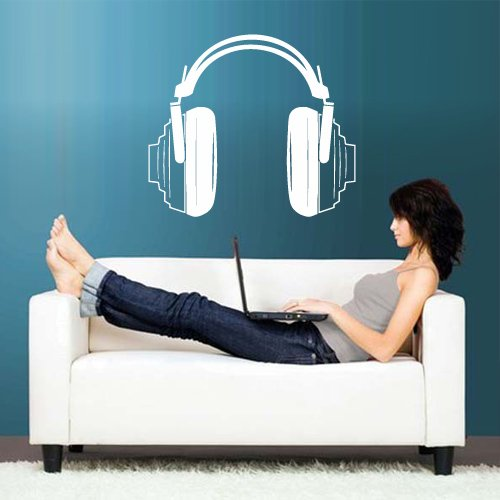 Wall Decal Vinyl Sticker Decals Headphones Music Notes Beats Audio Art Cord Relax (Z2660)