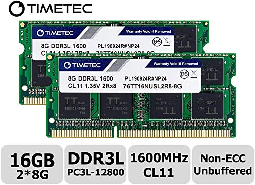 Timetec 16GB KIT(2x8GB) DDR3L 1600MHz PC3L-12800 Non ECC Unbuffered 1.35V CL11 2Rx8 Dual Rank 204 Pin SODIMM Laptop Notebook Computer Memory Ram Module Upgrade (16GB KIT (2x8GB) - Fast Ship) (Tamaño: 16GB KIT (2x8GB) - Fast Ship)