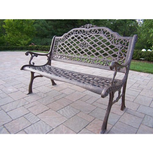 Oakland Living Mississippi Cast Aluminum High Back Bench, Antique Bronze