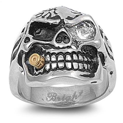New Men's Stainless Steel Skull & Bullet Biker Motorcycle Chopper Ring - Size 15