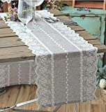 Free Shipping Wedding Tablecloth Table Topper Lace Runner Embroidery 30x180cm-light Grey