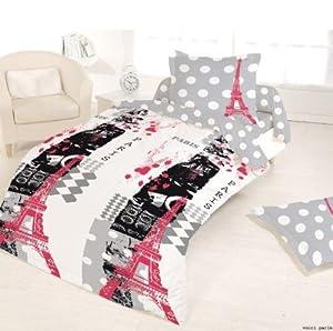 housse de couette 140x200 1 taie 100 coton voici paris cuisine maison. Black Bedroom Furniture Sets. Home Design Ideas