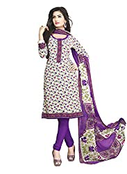 Salwar House Multicolor & Purple Unstitched Synthetic Printed Dress Material with Dupatta