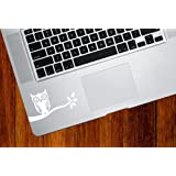 Owl on Branch - Trackpad / Keyboard - Vinyl Decal (White)