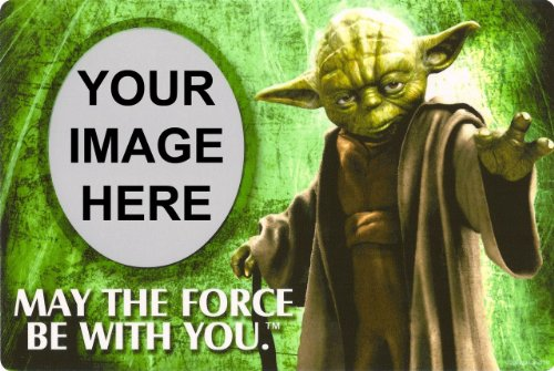 1/4 Sheet ~ Star Wars Yoda Photo Frame Birthday ~ Edible Image Cake/Cupcake Topper!!!