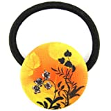 Orange Yellow Black Sunset Filigree Printed Silk Screen Woven Fabric Covered Button Hair Elastic