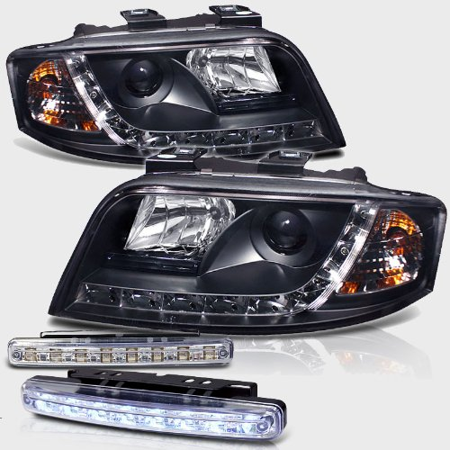 2002-2004 Audi A6 R8 Led Projector Headlights Pair Set + 8 Led Fog Bumper Lamps